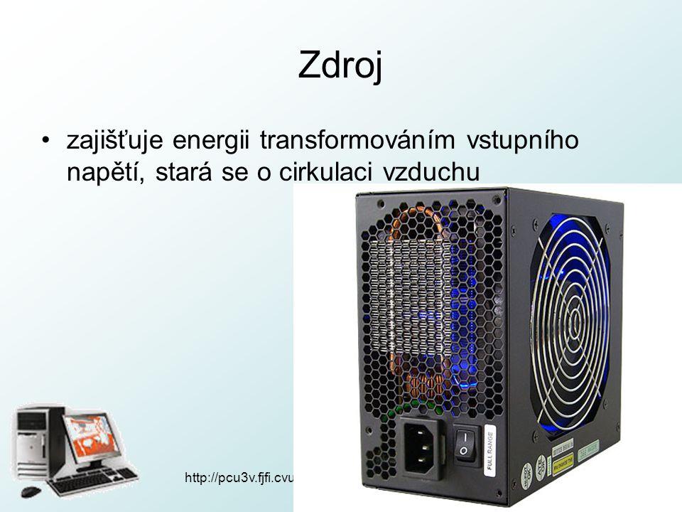 Zdroj zajišťuje energii transformováním vstupního napětí, stará se o cirkulaci vzduchu http://pcu3v.fjfi.cvut.cz