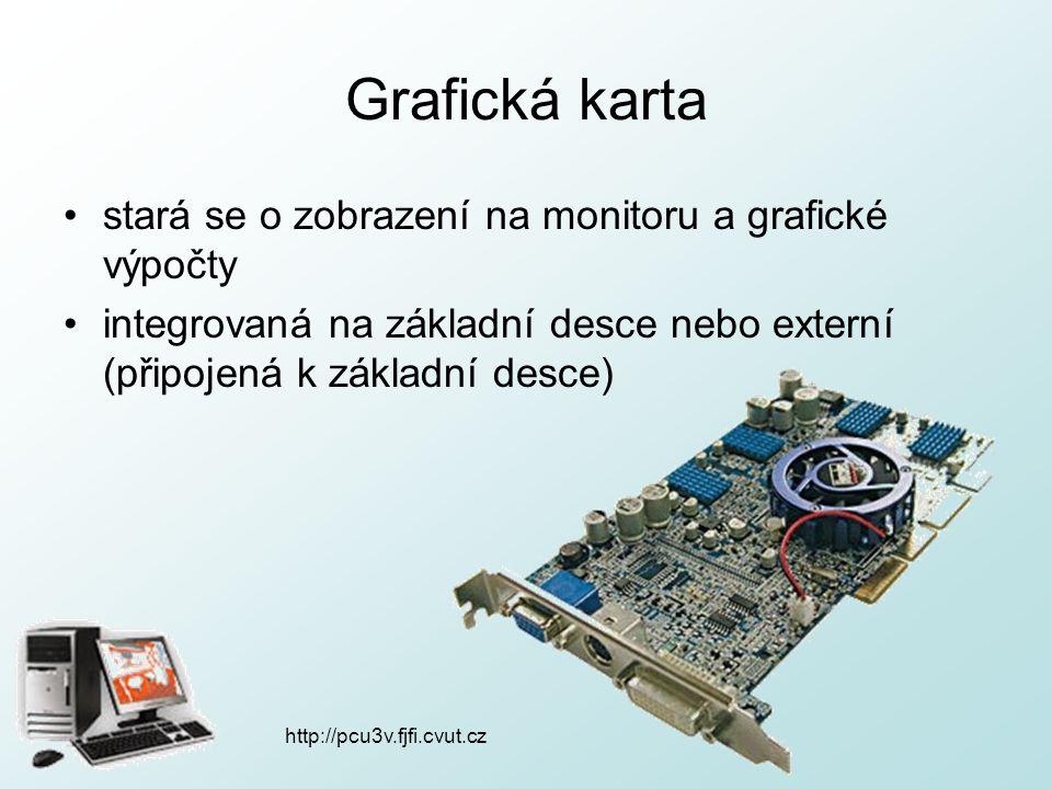 Grafická karta stará se o zobrazení na monitoru a grafické výpočty integrovaná na základní desce nebo externí (připojená k základní desce) http://pcu3