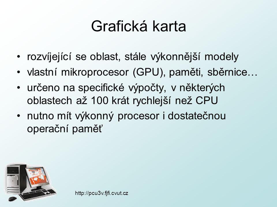 Grafická karta rozvíjející se oblast, stále výkonnější modely vlastní mikroprocesor (GPU), paměti, sběrnice… určeno na specifické výpočty, v některých