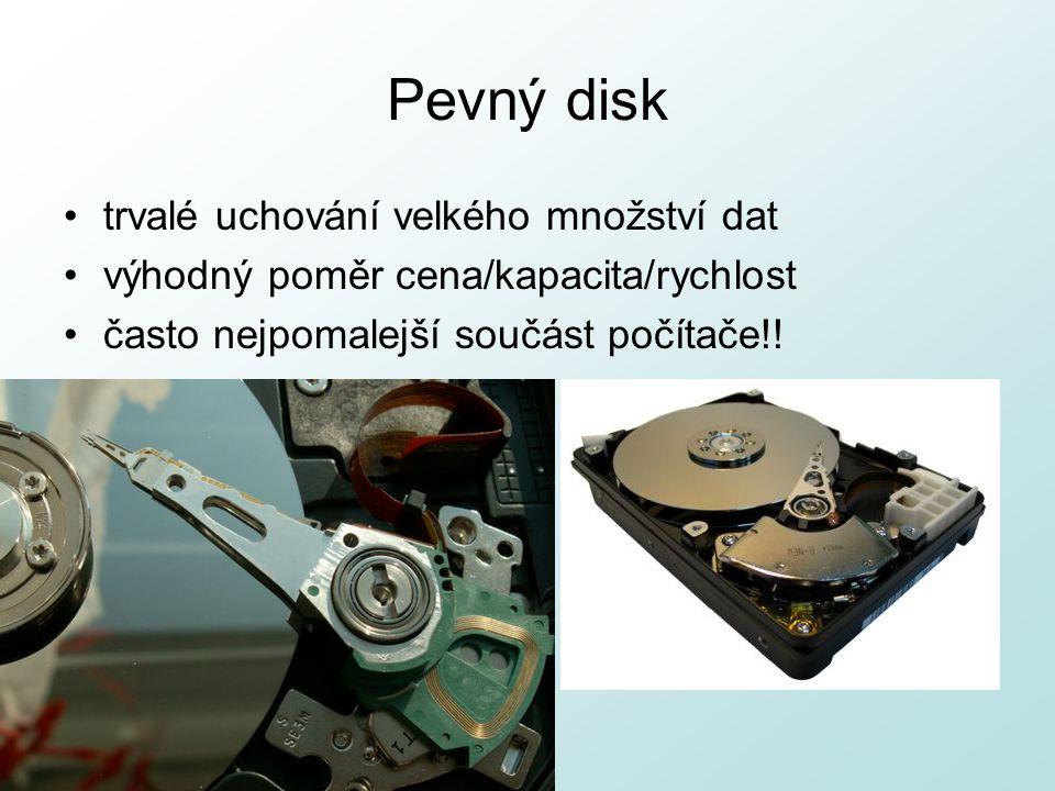 Pevný disk trvalé uchování velkého množství dat výhodný poměr cena/kapacita/rychlost často nejpomalejší součást počítače!!