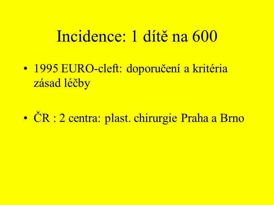 Incidence: 1 dítě na 600 1995 EURO-cleft: doporučení a kritéria zásad léčby ČR : 2 centra: plast. chirurgie Praha a Brno