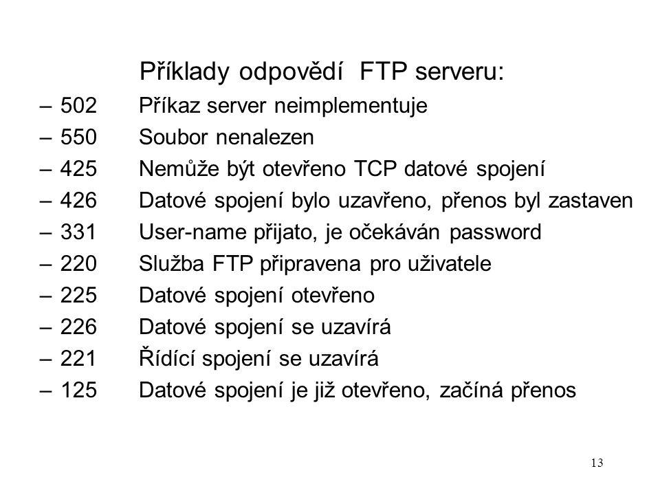 13 Příklady odpovědí FTP serveru: –502Příkaz server neimplementuje –550Soubor nenalezen –425Nemůže být otevřeno TCP datové spojení –426Datové spojení