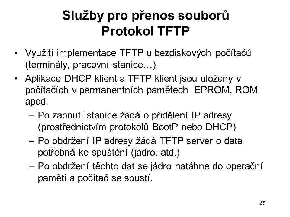 25 Využití implementace TFTP u bezdiskových počítačů (terminály, pracovní stanice…) Aplikace DHCP klient a TFTP klient jsou uloženy v počítačích v per