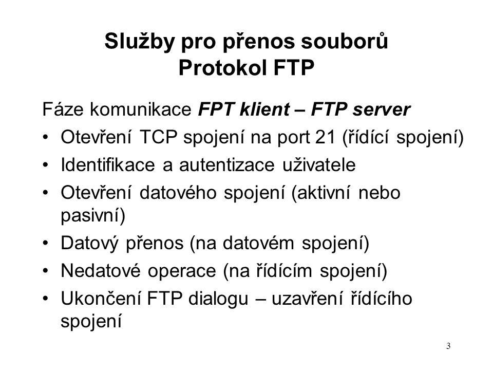 3 Fáze komunikace FPT klient – FTP server Otevření TCP spojení na port 21 (řídící spojení) Identifikace a autentizace uživatele Otevření datového spoj