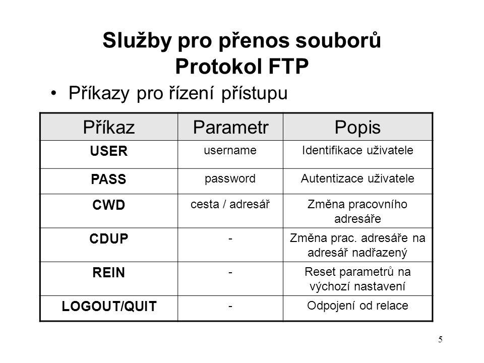 ParametrPopis PORT p1, p2, p3, p4, p5, p6 (dekadické hodnoty) Specifikace datového portu (klienta): p1,p2,p3,p4.…….IP adresa (p5 x 256) + p6…..č.portu PASV -Žádost o zaslání specifikace datového portu serveru TYPE p1 – dva znaky (typ formát) p2 – velikosti souboru v B (dekadicky) Specifikace typy souboru typ (A–ASCII E – EBCDIC I– Image) format (N-Nonprint….) STRU p1 (F-file, R-record, P-page)Specifikace struktury souboru MODE p1 (S-stream, B-block, C- compressed) Specifikace přenosového režimu souboru 6 Příkazy stanovení parametrů přenosu