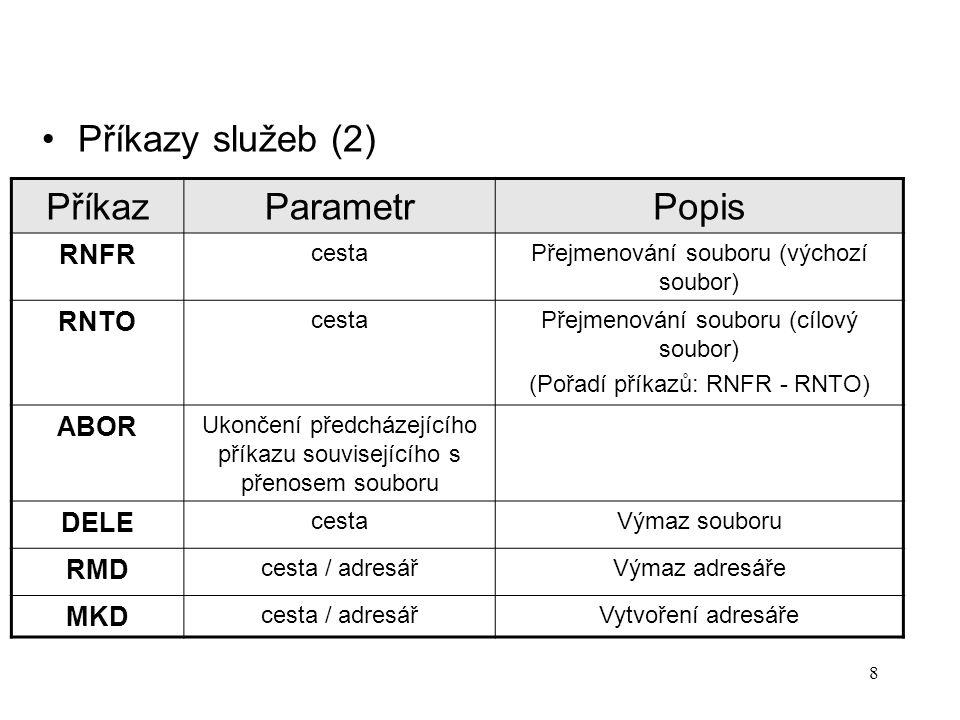 8 Příkazy služeb (2) PříkazParametrPopis RNFR cestaPřejmenování souboru (výchozí soubor) RNTO cestaPřejmenování souboru (cílový soubor) (Pořadí příkaz