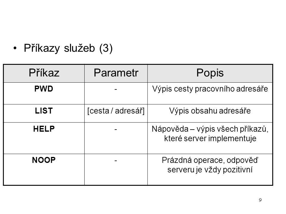 """Datové definice v protokolu FTP – RFC 959 1.Specifikace souboru (parametry příkazu TYPE) –Typ A """" ASCII soubor (textový formát) E """"EBCDIC soubor (EBCDIC je znakový kód – firma IBM) I """"Image file type - binární soubor L """"Local - lokální binární soubory (délka bytu je určena odesílající stranou) –Formát řízení (Format Control) – pouze pro ASCII a EBCDIC soubory N """" Nonprint (výchozí) – soubor neobsahuje řídící znaky pro vertikální formátování T """"Telnet format control – soubor obsahuje řídící znaky pro tisk souboru podle protokolu Telnet F """"Fortran carriage control – první znak každé řádky je znak podle specifikace jazyka Fortran 10"""