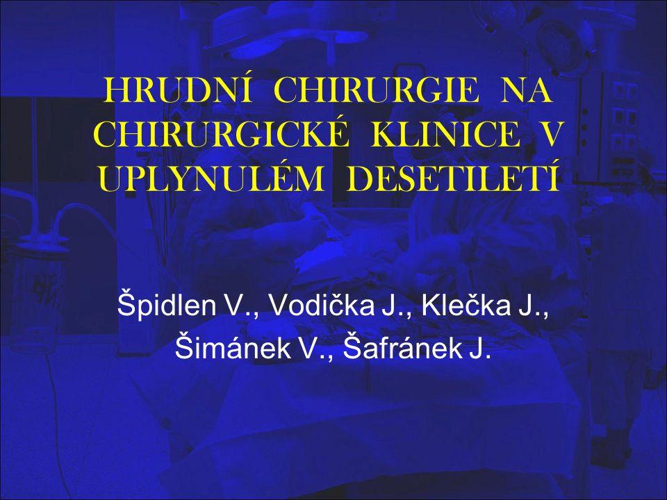 HRUDNÍ CHIRURGIE NA CHIRURGICKÉ KLINICE V UPLYNULÉM DESETILETÍ Špidlen V., Vodička J., Klečka J., Šimánek V., Šafránek J.