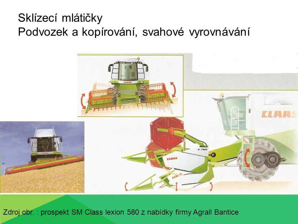Sklízecí mlátičky Podvozek a kopírování, svahové vyrovnávání Zdroj obr. : prospekt SM Class lexion 580 z nabídky firmy Agrall Bantice