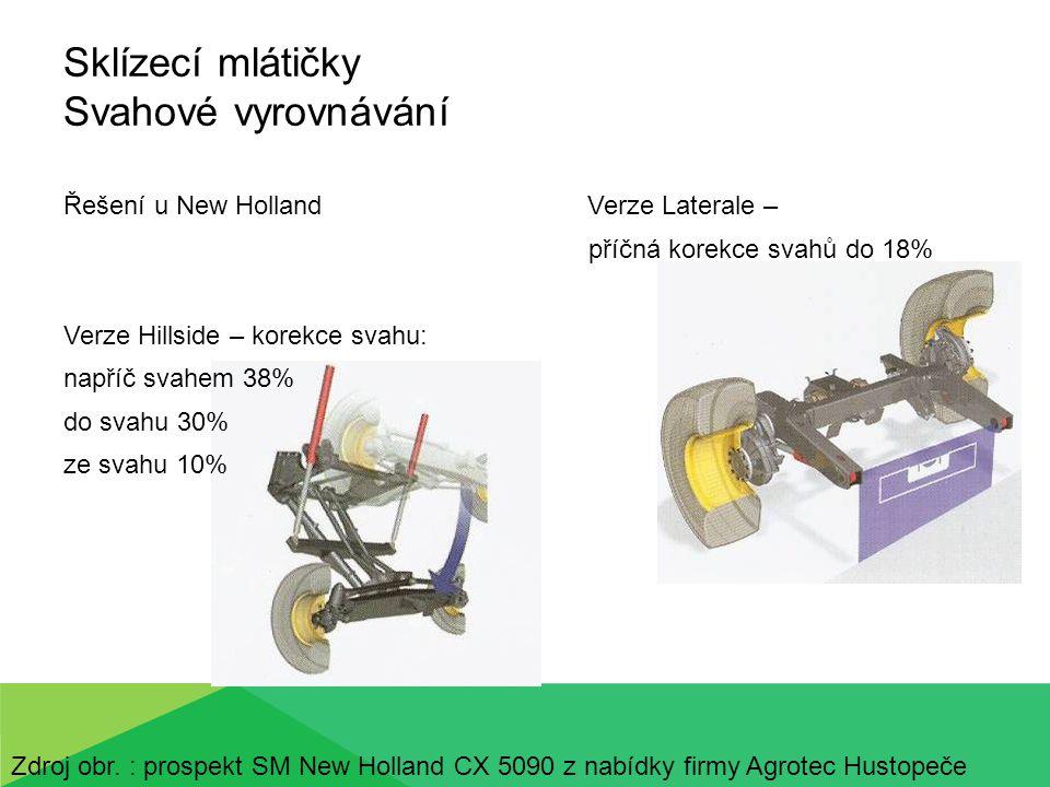 Sklízecí mlátičky Svahové vyrovnávání celé mlátičky - příčné Horská verze – řešení u firmy Laverda Zdroj obr.