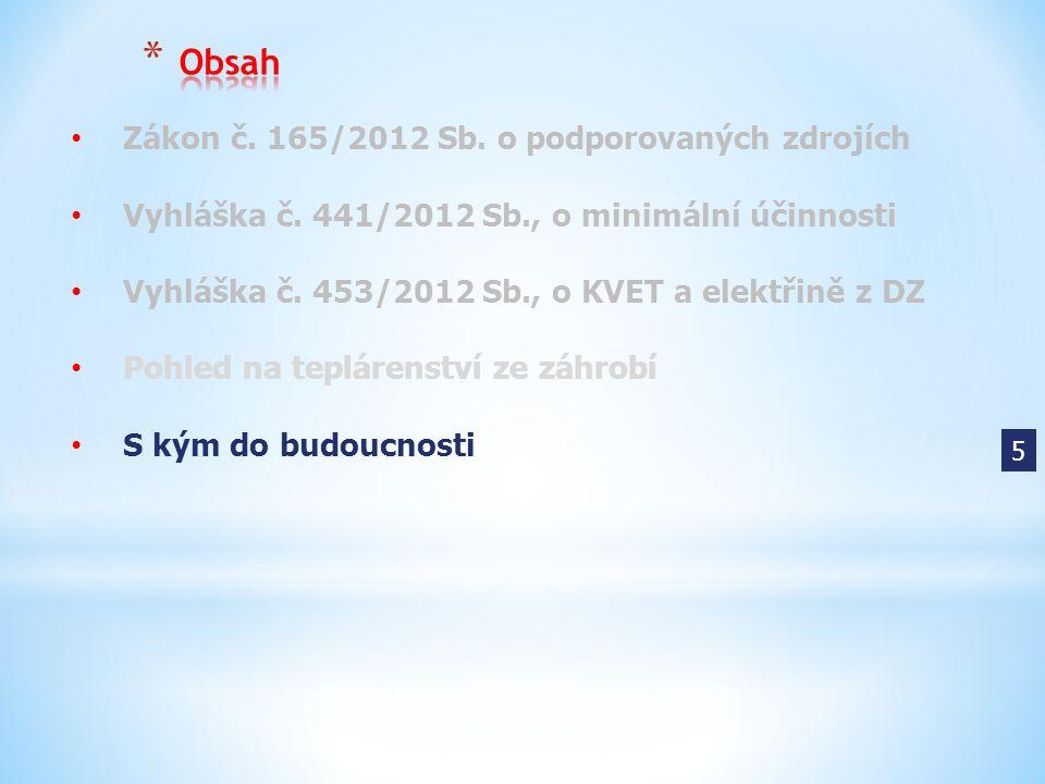 Zákon č. 165/2012 Sb. o podporovaných zdrojích Vyhláška č. 441/2012 Sb., o minimální účinnosti Vyhláška č. 453/2012 Sb., o KVET a elektřině z DZ Pohle