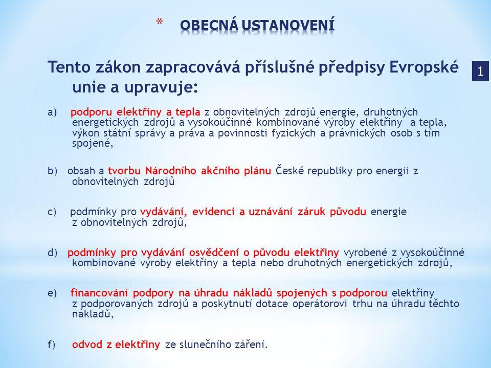 Tento zákon zapracovává příslušné předpisy Evropské unie a upravuje: a) podporu elektřiny a tepla z obnovitelných zdrojů energie, druhotných energetic