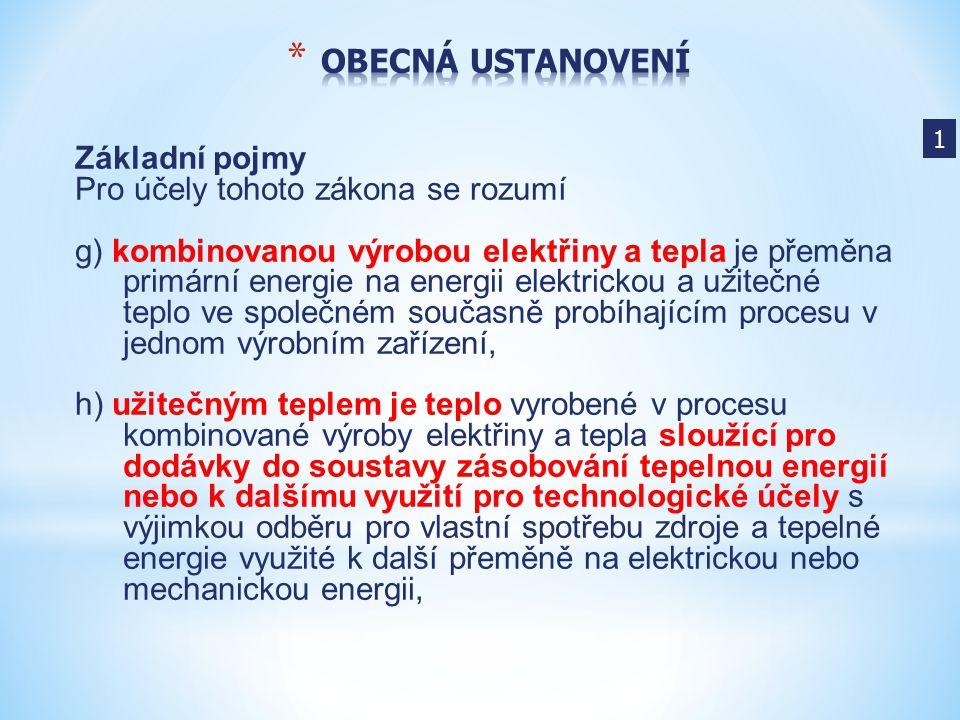 Základní pojmy Pro účely tohoto zákona se rozumí g) kombinovanou výrobou elektřiny a tepla je přeměna primární energie na energii elektrickou a užiteč