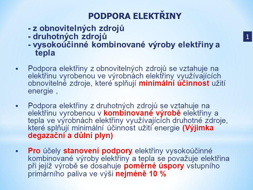 - z obnovitelných zdrojů - druhotných zdrojů - vysokoúčinné kombinované výroby elektřiny a tepla  Podpora elektřiny z obnovitelných zdrojů se vztahuj