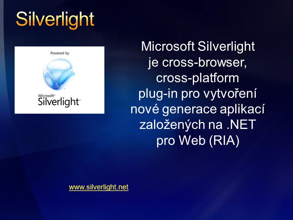 Microsoft Silverlight je cross-browser, cross-platform plug-in pro vytvoření nové generace aplikací založených na.NET pro Web (RIA) www.silverlight.net