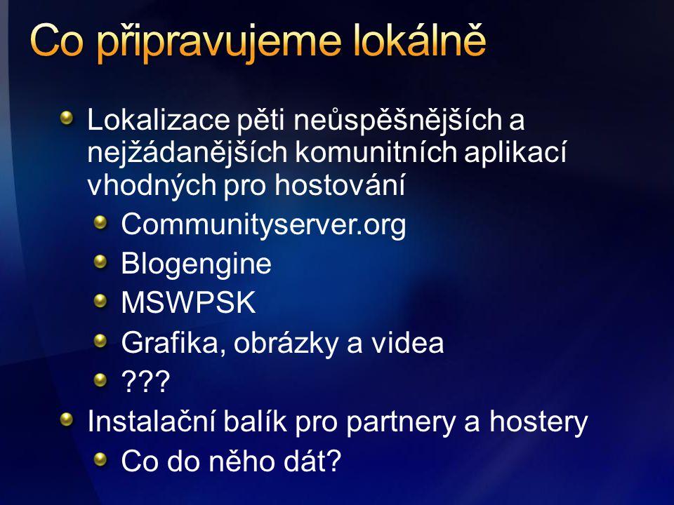 Lokalizace pěti neůspěšnějších a nejžádanějších komunitních aplikací vhodných pro hostování Communityserver.org Blogengine MSWPSK Grafika, obrázky a videa .