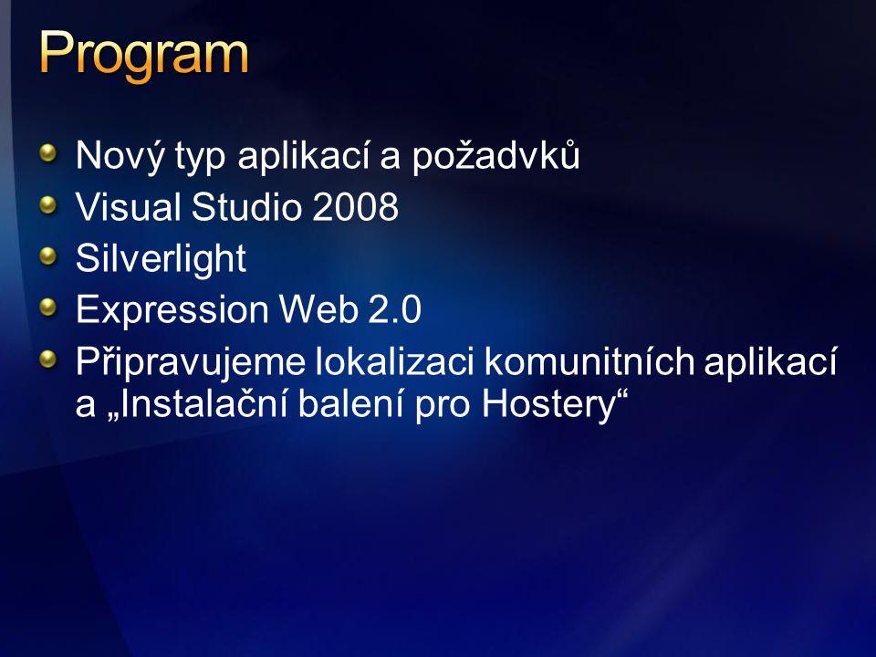 """Nový typ aplikací a požadvků Visual Studio 2008 Silverlight Expression Web 2.0 Připravujeme lokalizaci komunitních aplikací a """"Instalační balení pro Hostery"""