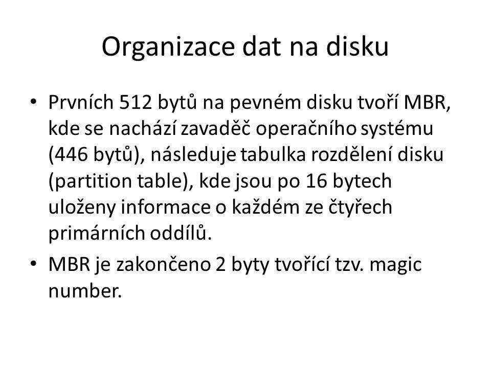 Organizace dat na disku Prvních 512 bytů na pevném disku tvoří MBR, kde se nachází zavaděč operačního systému (446 bytů), následuje tabulka rozdělení disku (partition table), kde jsou po 16 bytech uloženy informace o každém ze čtyřech primárních oddílů.