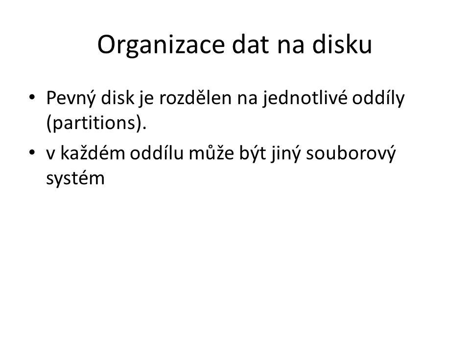 Organizace dat na disku Pevný disk je rozdělen na jednotlivé oddíly (partitions). v každém oddílu může být jiný souborový systém