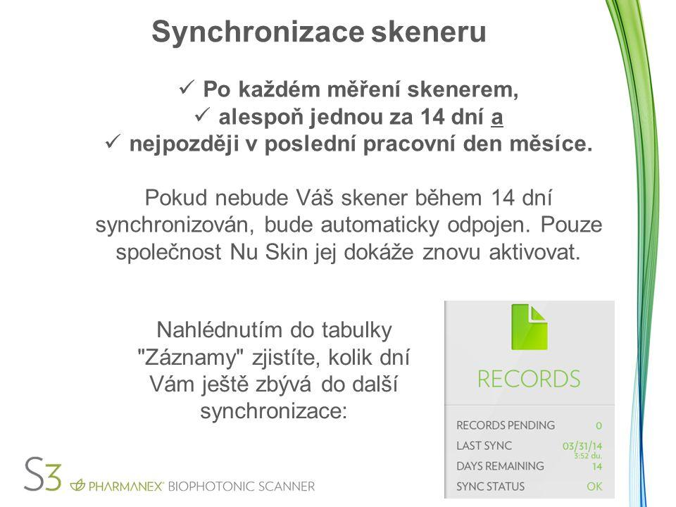 Synchronizace skeneru Po každém měření skenerem, alespoň jednou za 14 dní a nejpozději v poslední pracovní den měsíce.