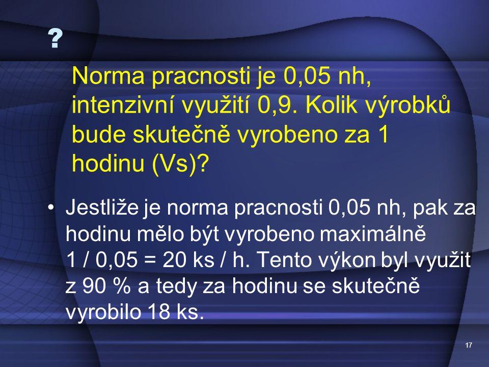 17 ? Jestliže je norma pracnosti 0,05 nh, pak za hodinu mělo být vyrobeno maximálně 1 / 0,05 = 20 ks / h. Tento výkon byl využit z 90 % a tedy za hodi