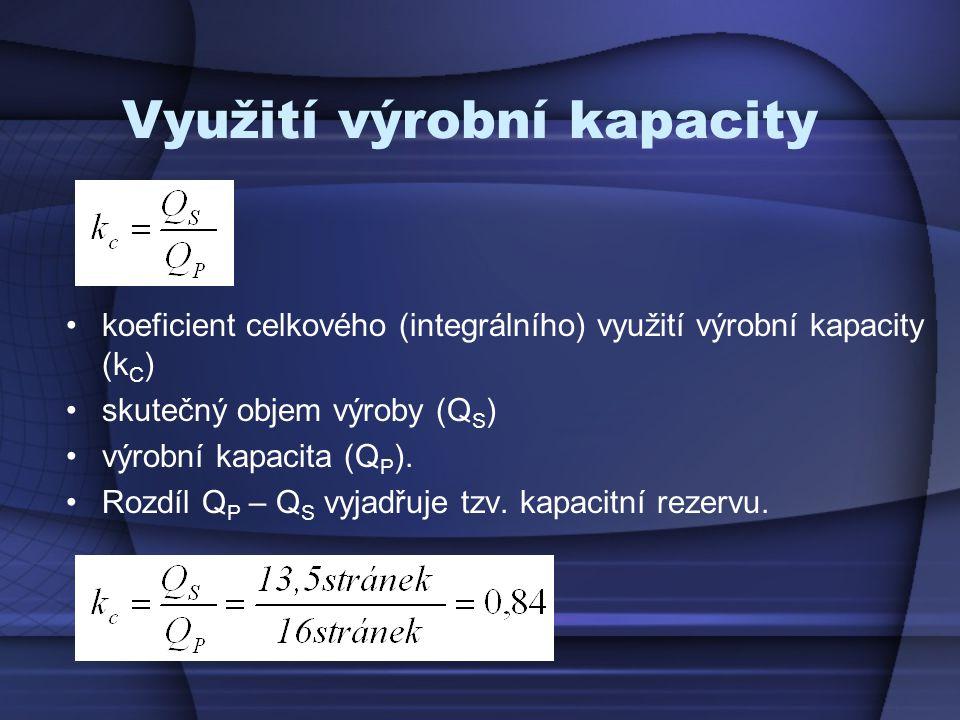 Využití výrobní kapacity koeficient celkového (integrálního) využití výrobní kapacity (k C ) skutečný objem výroby (Q S ) výrobní kapacita (Q P ). Roz
