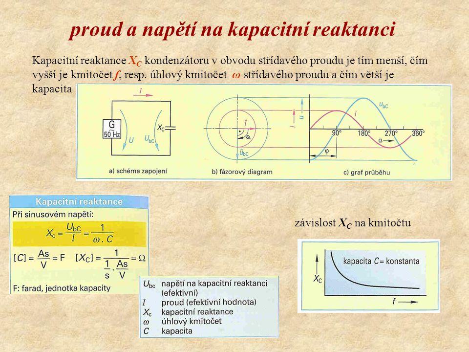 proud a napětí na kapacitní reaktanci Kapacitní reaktance X C kondenzátoru v obvodu střídavého proudu je tím menší, čím vyšší je kmitočet f, resp.