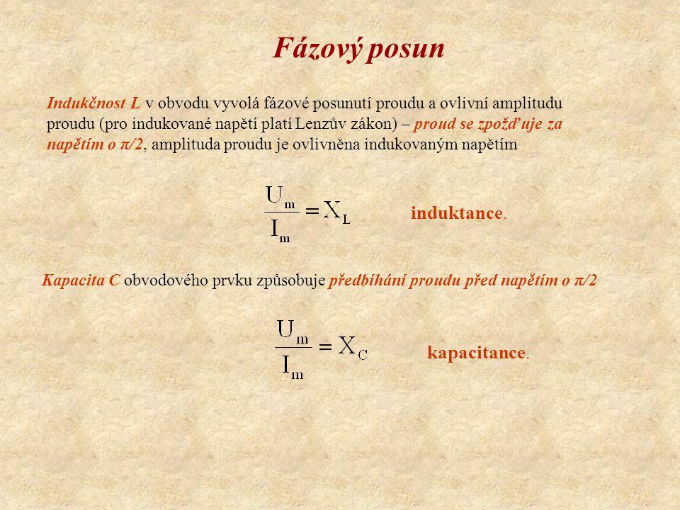 Fázový posun Indukčnost L v obvodu vyvolá fázové posunutí proudu a ovlivní amplitudu proudu (pro indukované napětí platí Lenzův zákon) – proud se zpožďuje za napětím o π/2, amplituda proudu je ovlivněna indukovaným napětím induktance.