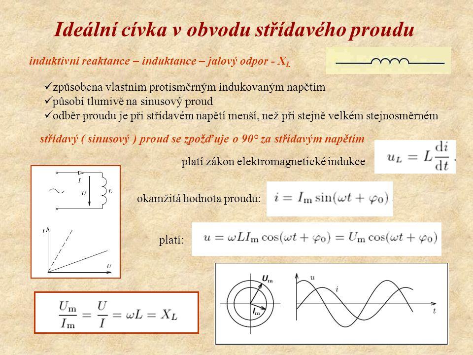 Ideální cívka v obvodu střídavého proudu induktivní reaktance – induktance – jalový odpor - X L způsobena vlastním protisměrným indukovaným napětím působí tlumivě na sinusový proud odběr proudu je při střídavém napětí menší, než při stejně velkém stejnosměrném střídavý ( sinusový ) proud se zpožďuje o 90° za střídavým napětím platí zákon elektromagnetické indukce okamžitá hodnota proudu: platí: