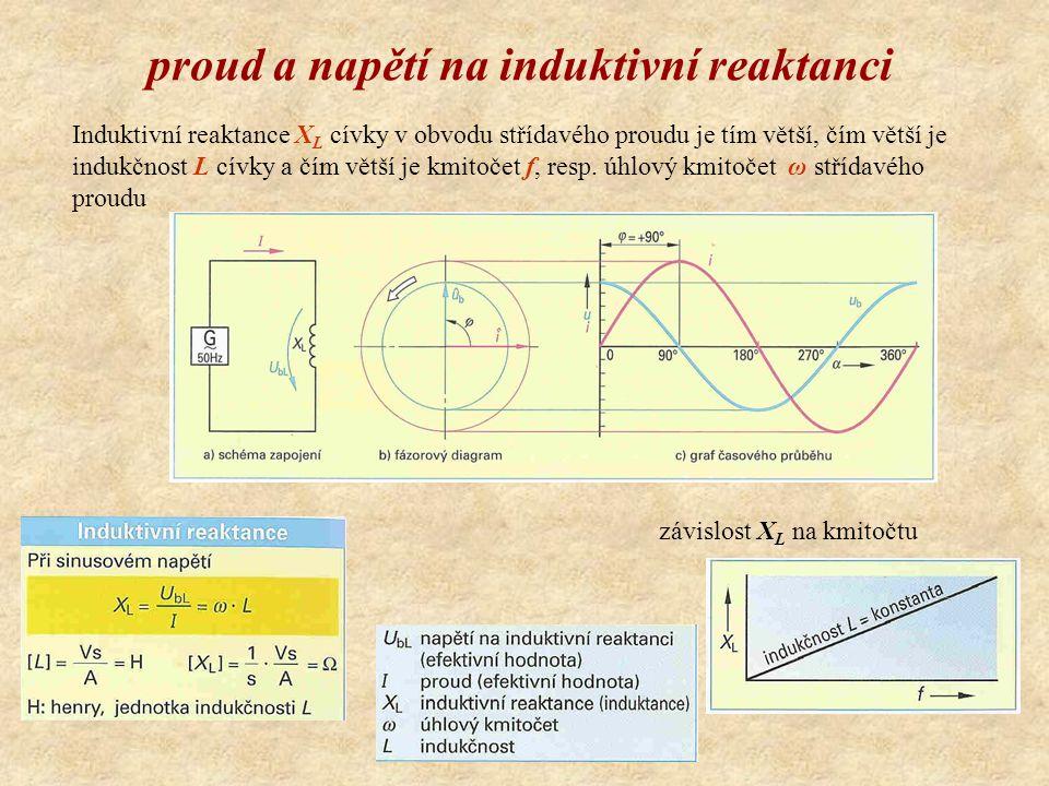 proud a napětí na induktivní reaktanci Induktivní reaktance X L cívky v obvodu střídavého proudu je tím větší, čím větší je indukčnost L cívky a čím větší je kmitočet f, resp.