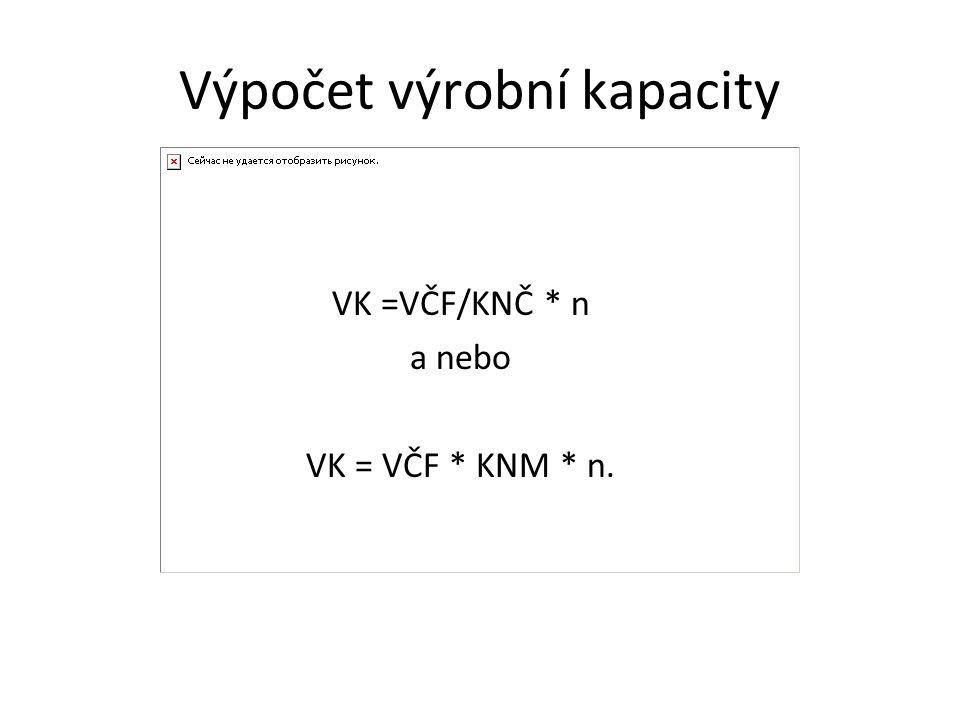 Výpočet výrobní kapacity VK =VČF/KNČ * n a nebo VK = VČF * KNM * n.