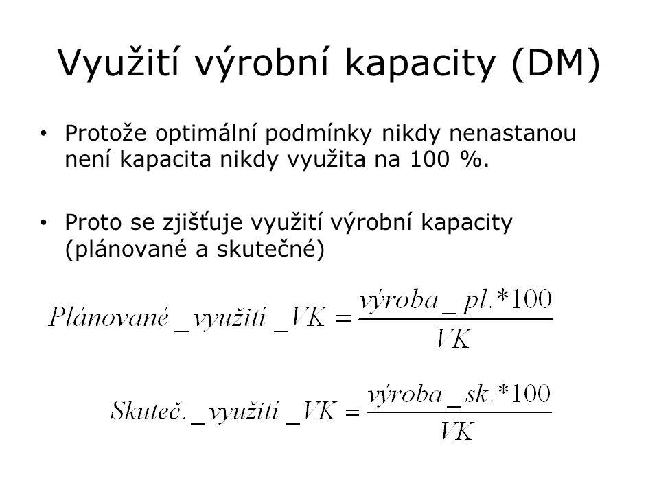 Využití výrobní kapacity (DM) Protože optimální podmínky nikdy nenastanou není kapacita nikdy využita na 100 %. Proto se zjišťuje využití výrobní kapa