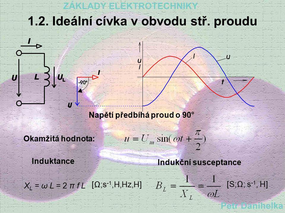 1.1. Ideální rezistor v obvodu stř. proudu Napětí a proud jsou ve fázi Okamžitá hodnota: Elektrický odporElektrická vodivost - konduktance [  V,A] [