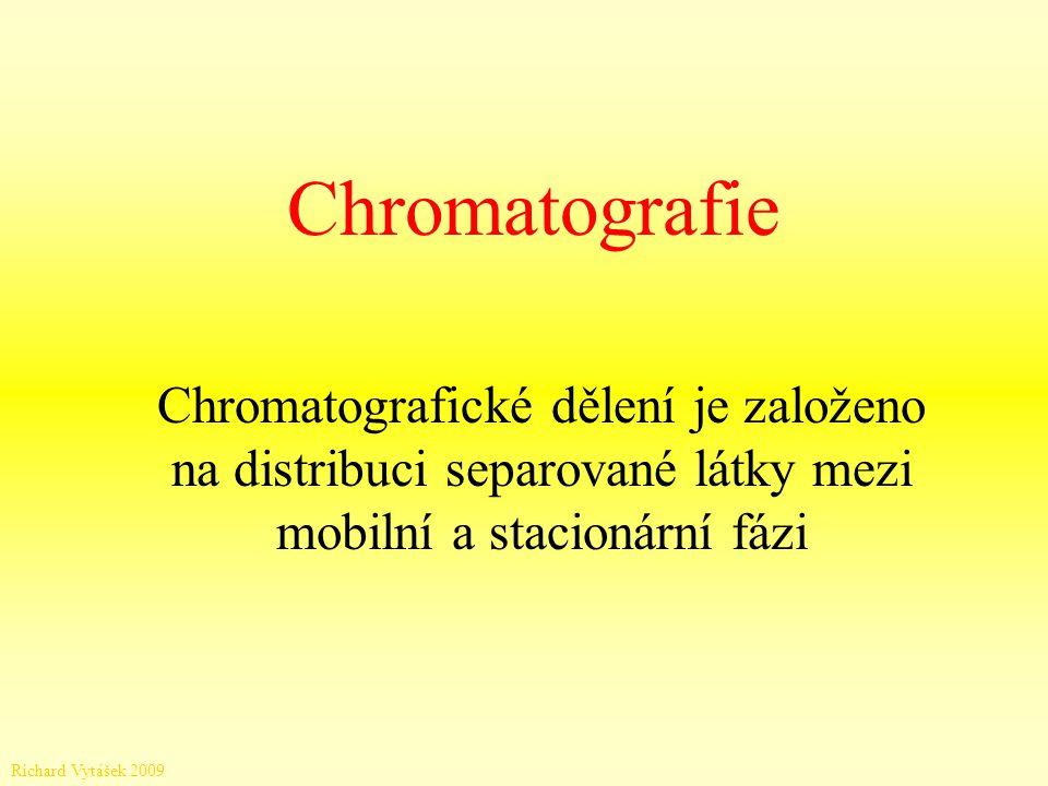 Chromatografie Chromatografické dělení je založeno na distribuci separované látky mezi mobilní a stacionární fázi Richard Vytášek 2009