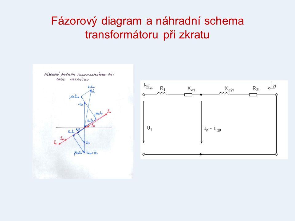 Fázorový diagram a náhradní schema transformátoru při zkratu