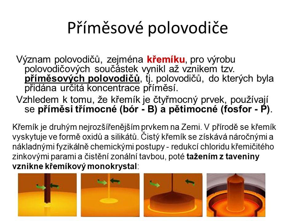 Příměsové polovodiče křemíku Význam polovodičů, zejména křemíku, pro výrobu polovodičových součástek vynikl až vznikem tzv.