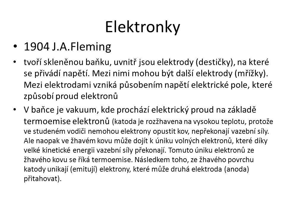 Elektronky 1904 J.A.Fleming tvoří skleněnou baňku, uvnitř jsou elektrody (destičky), na které se přivádí napětí.