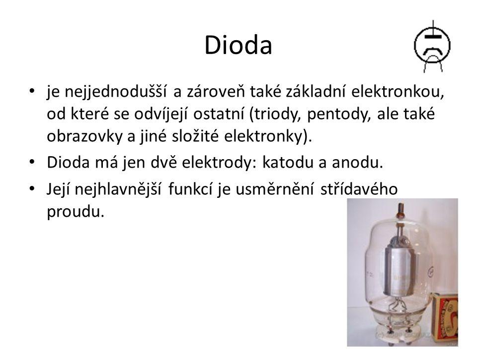 Dioda je nejjednodušší a zároveň také základní elektronkou, od které se odvíjejí ostatní (triody, pentody, ale také obrazovky a jiné složité elektronky).