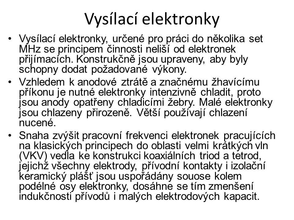Vysílací elektronky Vysílací elektronky, určené pro práci do několika set MHz se principem činnosti neliší od elektronek přijímacích.