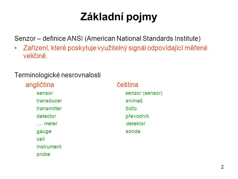 2 Základní pojmy Senzor – definice ANSI (American National Standards Institute) Zařízení, které poskytuje využitelný signál odpovídající měřené veliči