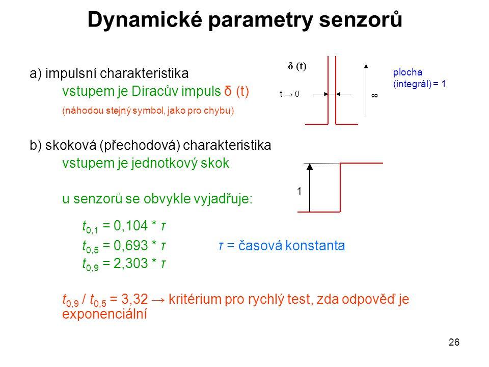 26 Dynamické parametry senzorů a) impulsní charakteristika vstupem je Diracův impuls δ (t) (náhodou stejný symbol, jako pro chybu) b) skoková (přechod