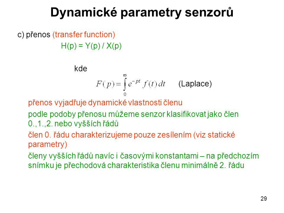 29 Dynamické parametry senzorů c) přenos (transfer function) H(p) = Y(p) / X(p) kde přenos vyjadřuje dynamické vlastnosti členu podle podoby přenosu m
