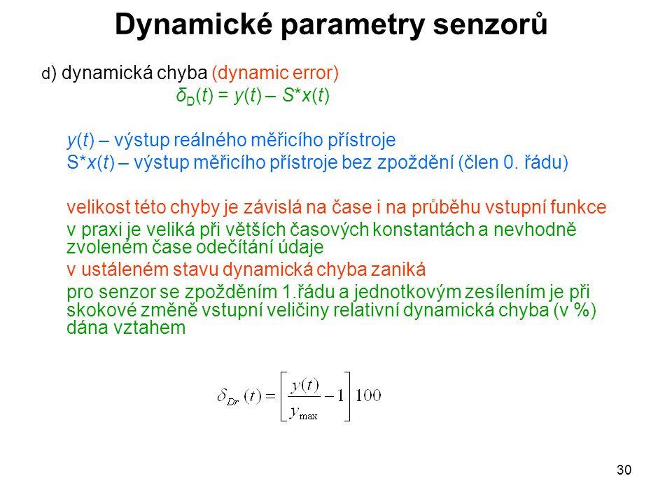 30 Dynamické parametry senzorů d ) dynamická chyba (dynamic error) δ D (t) = y(t) – S*x(t) y(t) – výstup reálného měřicího přístroje S*x(t) – výstup m