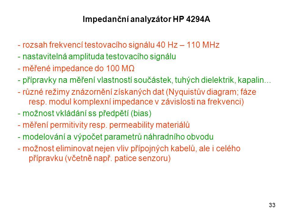 33 Impedanční analyzátor HP 4294A - rozsah frekvencí testovacího signálu 40 Hz – 110 MHz - nastavitelná amplituda testovacího signálu - měřené impedan