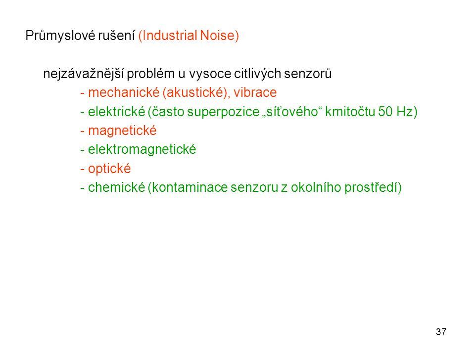 37 Průmyslové rušení (Industrial Noise) nejzávažnější problém u vysoce citlivých senzorů - mechanické (akustické), vibrace - elektrické (často superpo