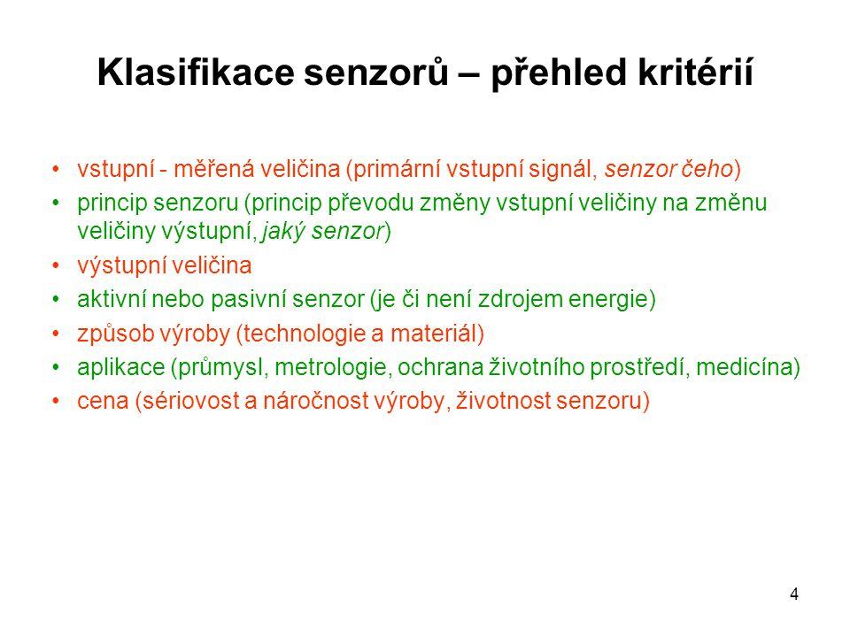 4 Klasifikace senzorů – přehled kritérií vstupní - měřená veličina (primární vstupní signál, senzor čeho) princip senzoru (princip převodu změny vstup