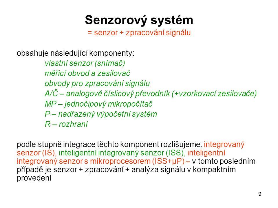 9 Senzorový systém = senzor + zpracování signálu obsahuje následující komponenty: vlastní senzor (snímač) měřicí obvod a zesilovač obvody pro zpracová