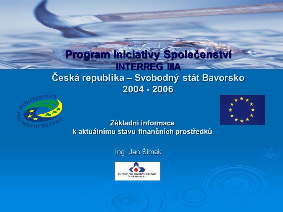 Základní informace k aktuálnímu stavu finančních prostředků Program Iniciativy Společenství INTERREG IIIA Česká republika – Svobodný stát Bavorsko 200