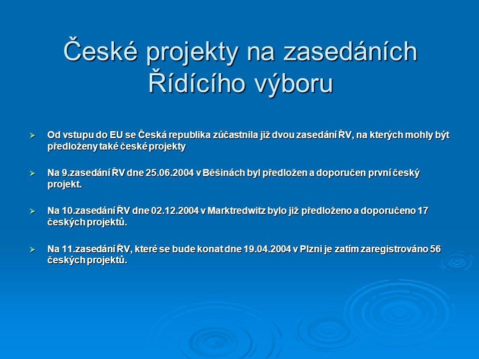 České projekty na zasedáních Řídícího výboru  Od vstupu do EU se Česká republika zúčastnila již dvou zasedání ŘV, na kterých mohly být předloženy tak