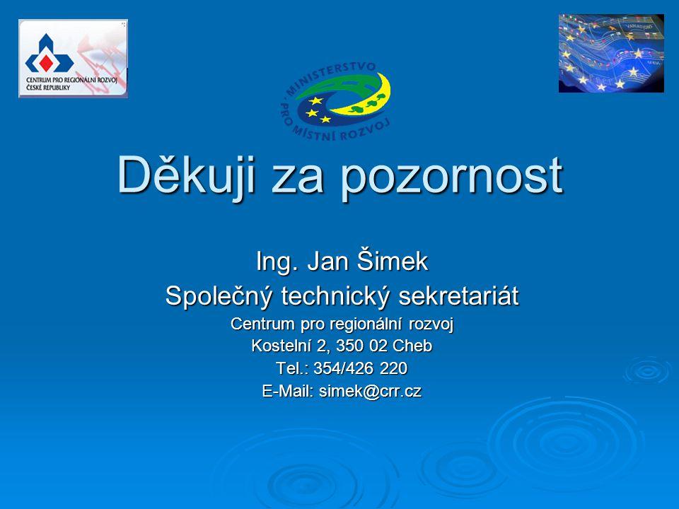 Děkuji za pozornost Ing. Jan Šimek Společný technický sekretariát Centrum pro regionální rozvoj Kostelní 2, 350 02 Cheb Tel.: 354/426 220 E-Mail: sime